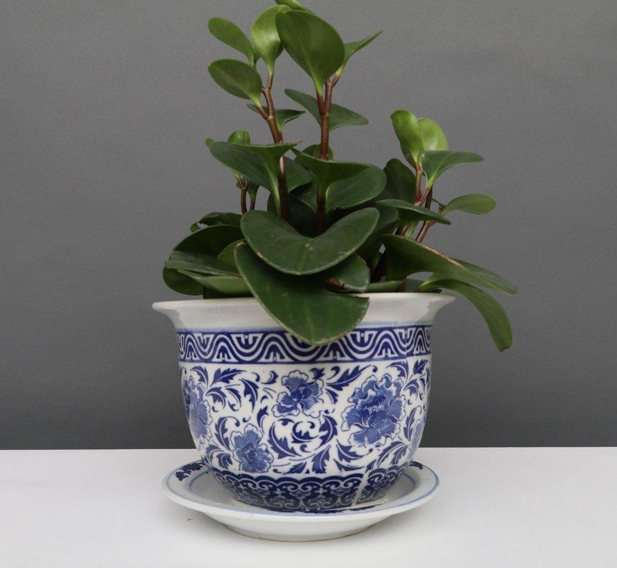 China Porzellan Blumentopf Blau-Weiß Lotusblumen Ø 20cm