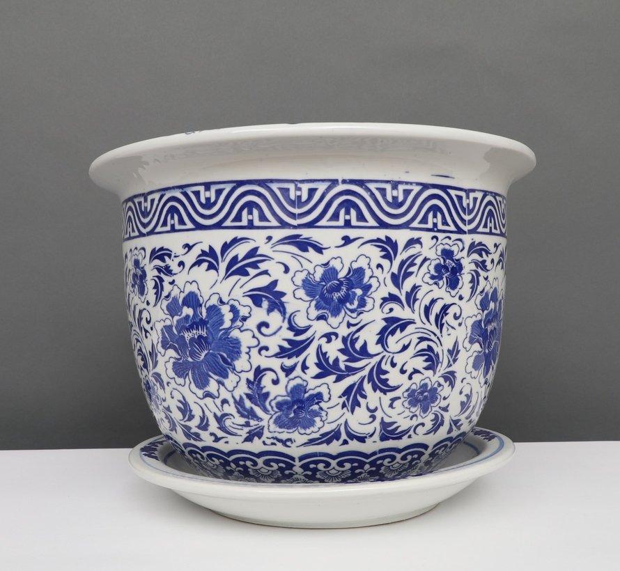 China Porzellan Blumentopf Blau-Weiß Nelken blumen Ø 17cm