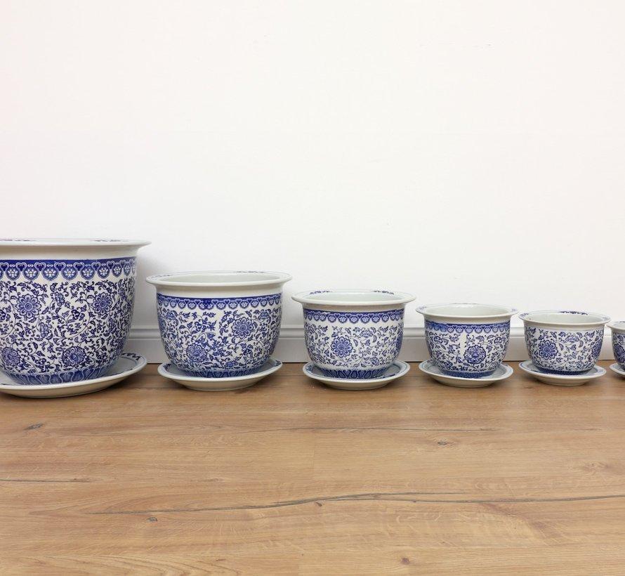 China Porcelain Flowerpot Blue-White with sunflowers Ø 20cm