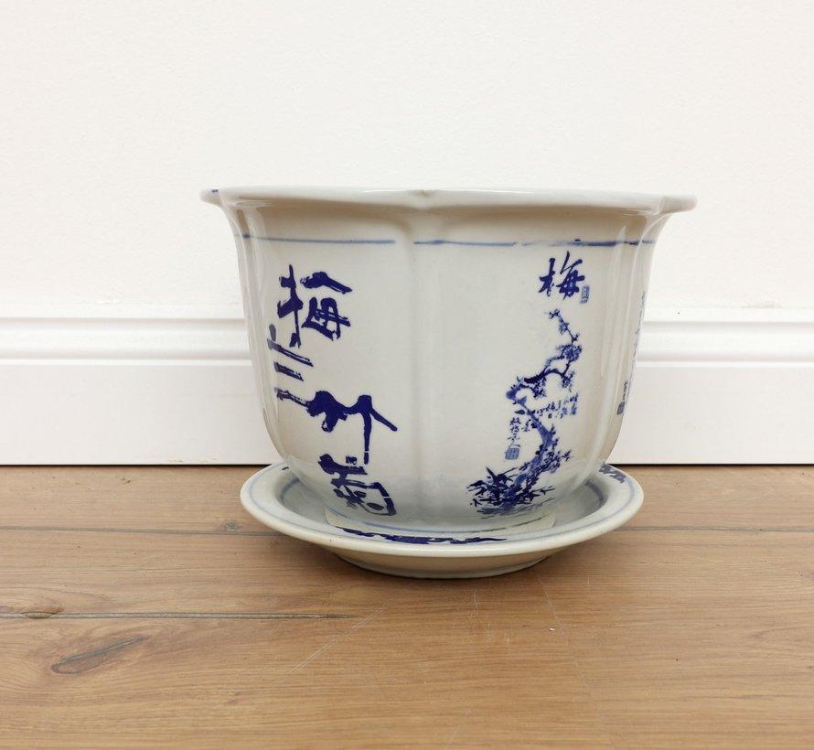 Porzellan Blumentopf mit Pflaume Orchidee Bambus Chrysantheme Ø30