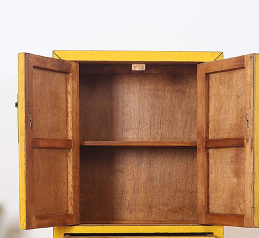 chinesische Kommode Sideboard 2 Schubladen 2 Türen gelb