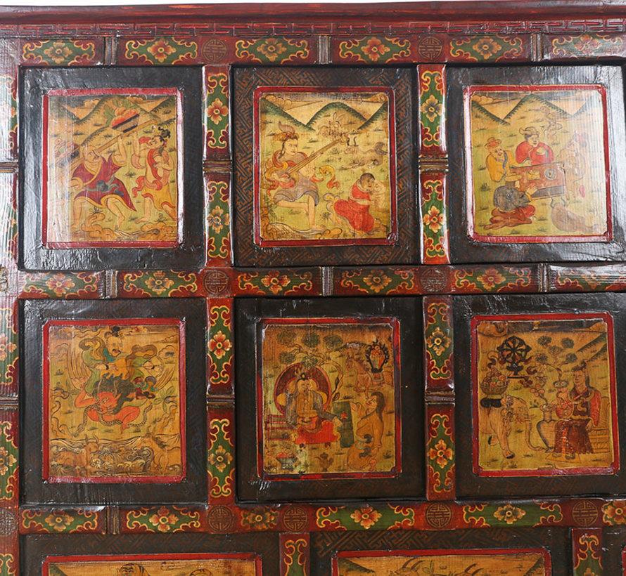 Tibetische  Kommode mit wunderschönem handbemaltem figuren