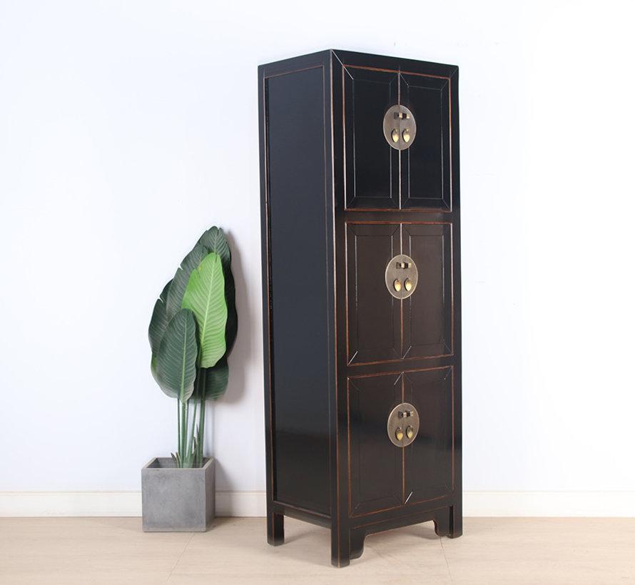 Chinesischer Hochzeitsschrank 6 Türen Massivholz schwarz