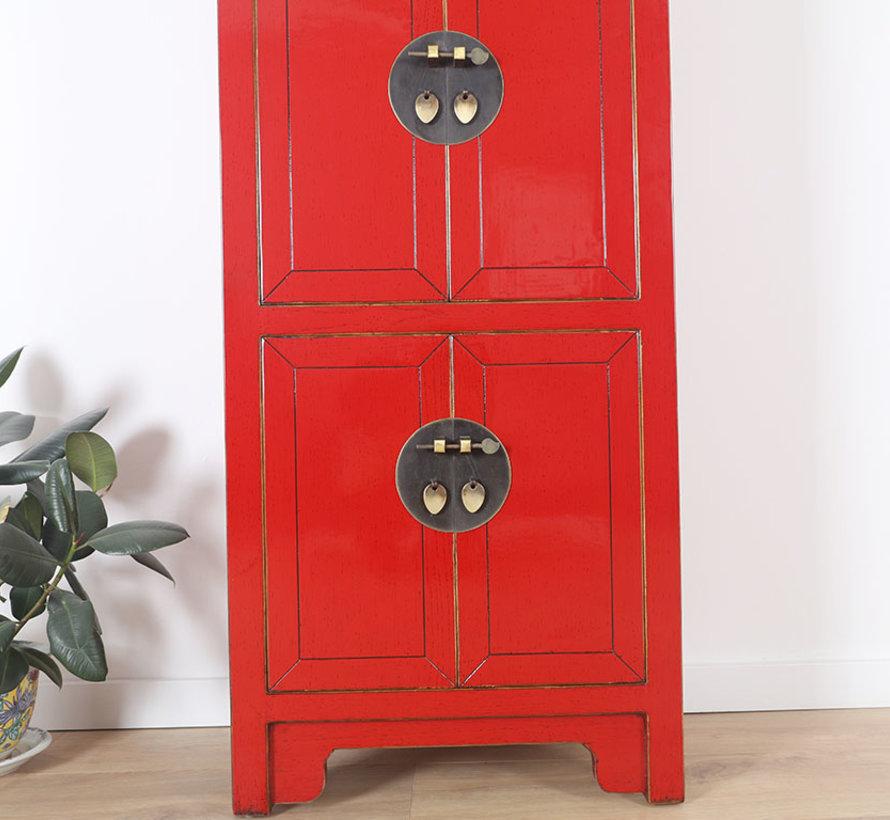 Chinesischer Hochzeitsschrank 6 Türen Massivholz rot