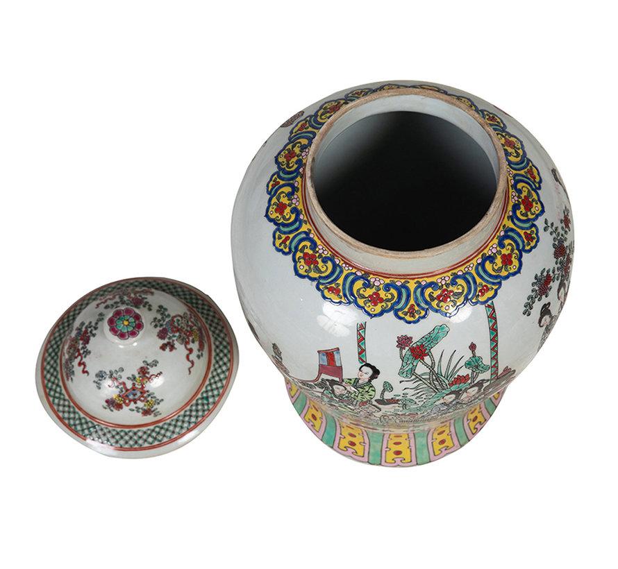 Chinesische Porzellan Deckelvase44cm hoch Ø 25cm