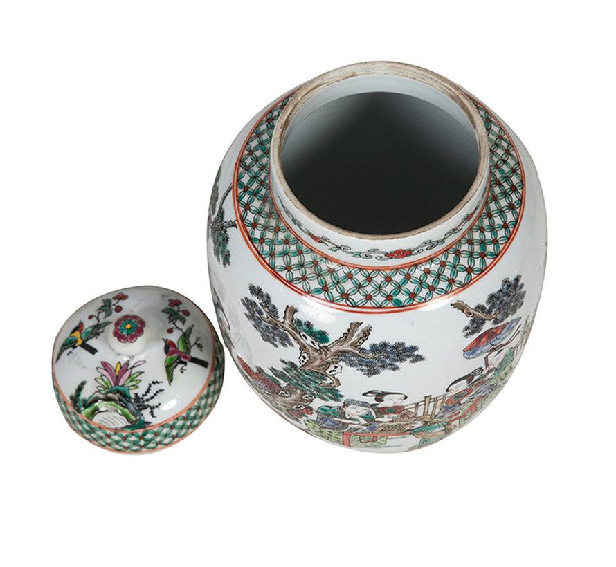 Chinesische Porzellan Deckelvase39cm hoch Ø 23cm