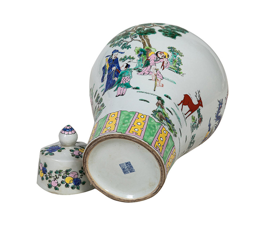 Chinesische Porzellan Deckelvase44cm hoch Ø 29cm
