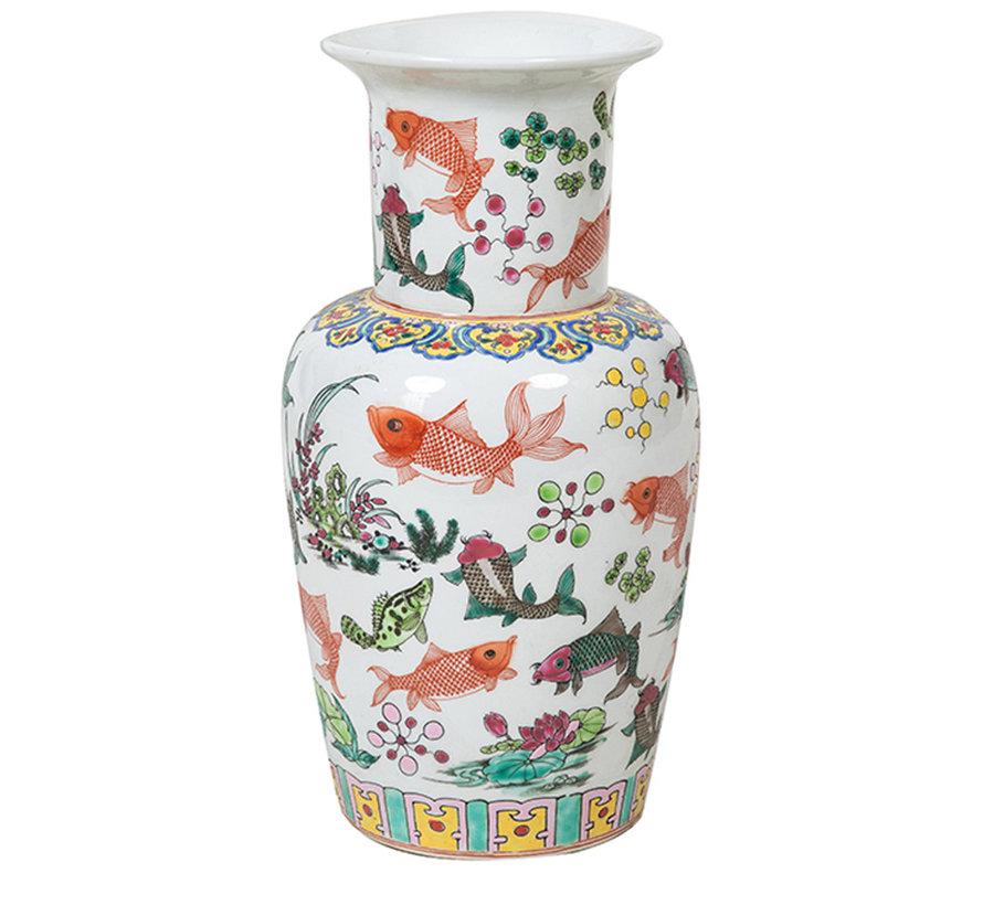 Chinesische Porzellan Deckelvase 44 cm hoch Ø25cm