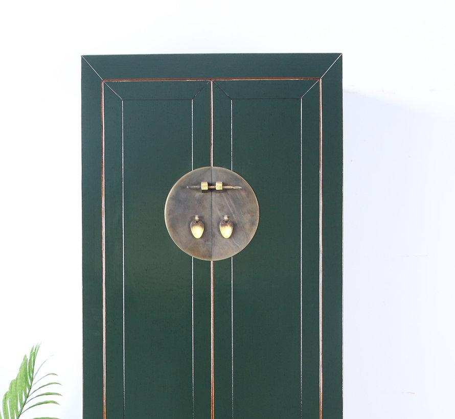 Chinesischer Hochzeitschrank 2 Türen 1 Schublade tannengrün