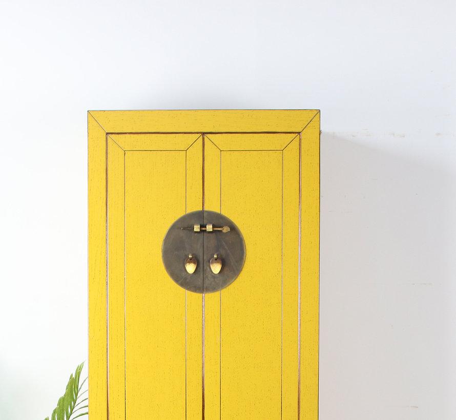 Chinesischer Hochzeitschrank 2 Türen 1 Schublade gelb