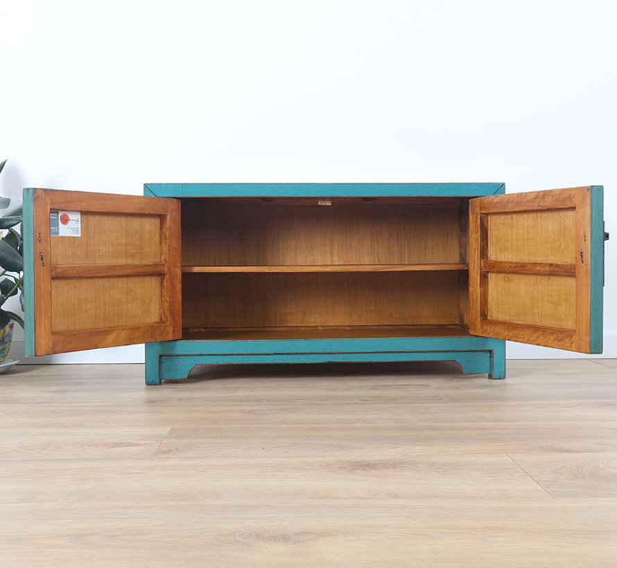 Chinese dresser sideboard 3 drawers 2 doors Oriental Asian turquoise