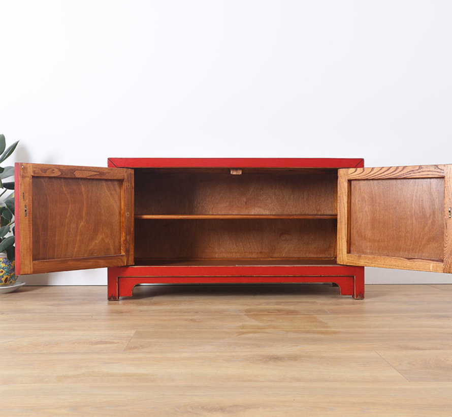 Chinese dresser sideboard 3 drawers 2 doors Oriental Asian red