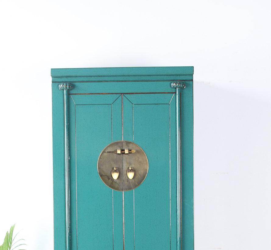 Chinese wedding cabinet solid wood 2 doors wardrobe turquoise