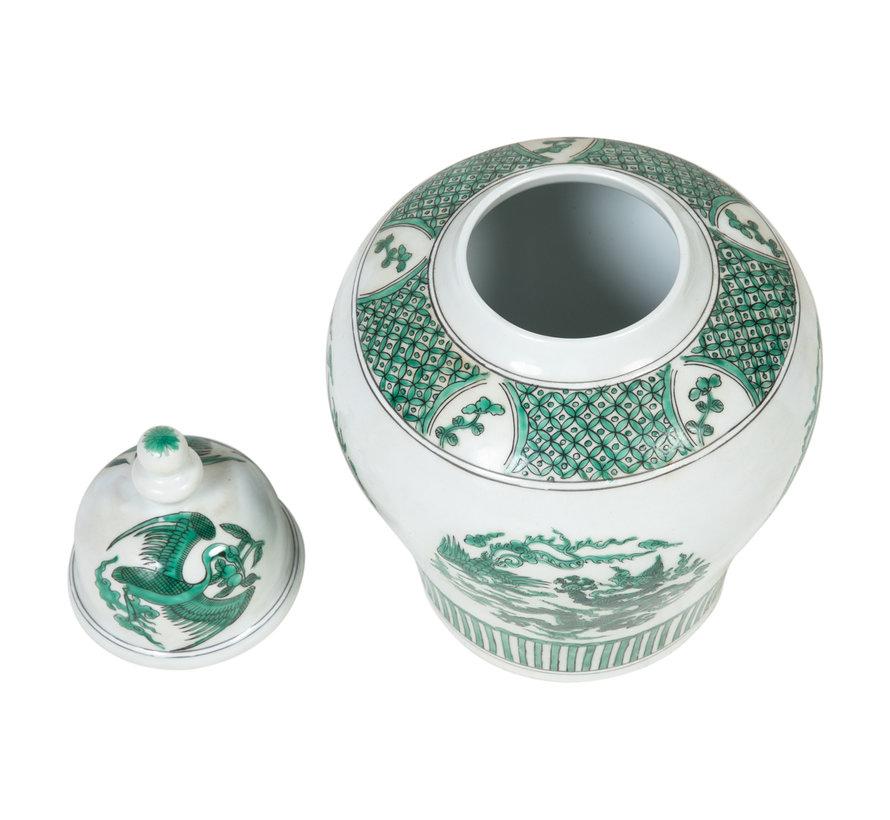 Chinesische Porzellan Deckelvase 18cm hoch Ø31cm