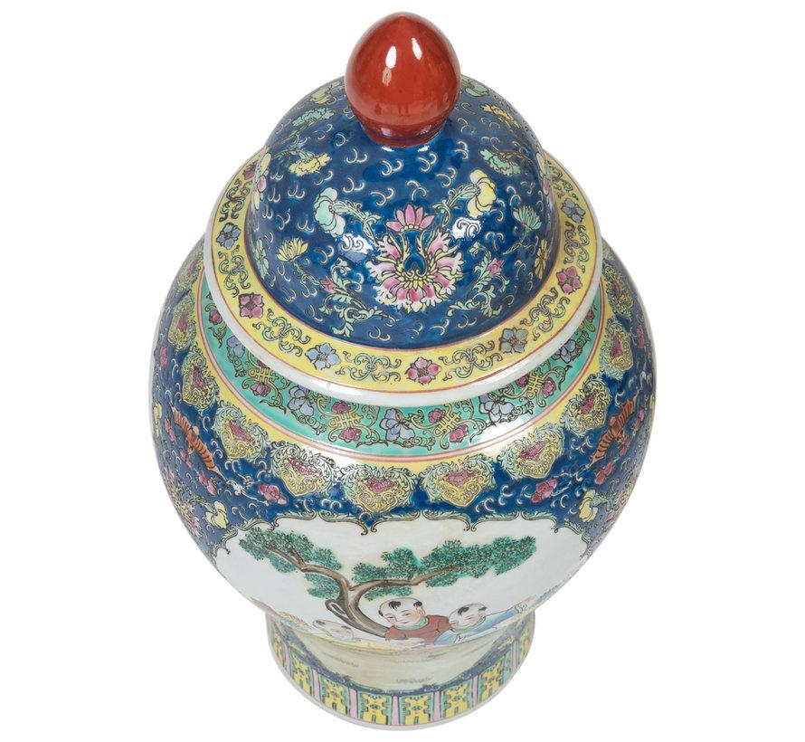 Chinesische Porzellan Deckelvase30cm hoch Ø56cm