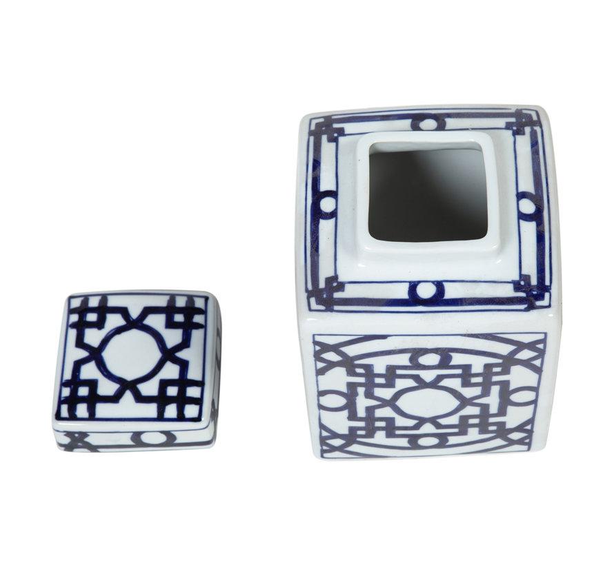 Chinesische Porzellan Deckelvase15cm hoch Ø21cm