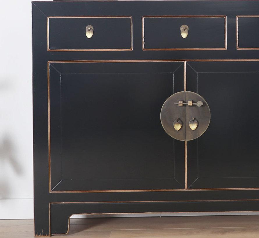 Chinese dresser sideboard 3 drawers 2 doors Oriental / Asian style black