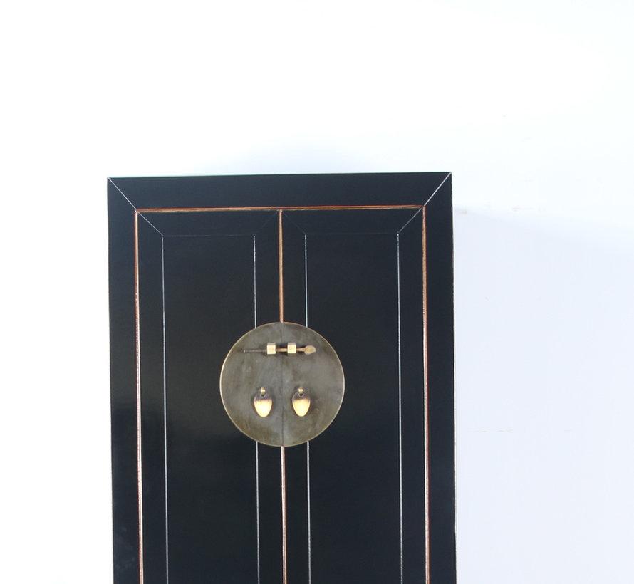 Chinesischer Hochzeitschrank 2 Türen 1 Schublade schwarz