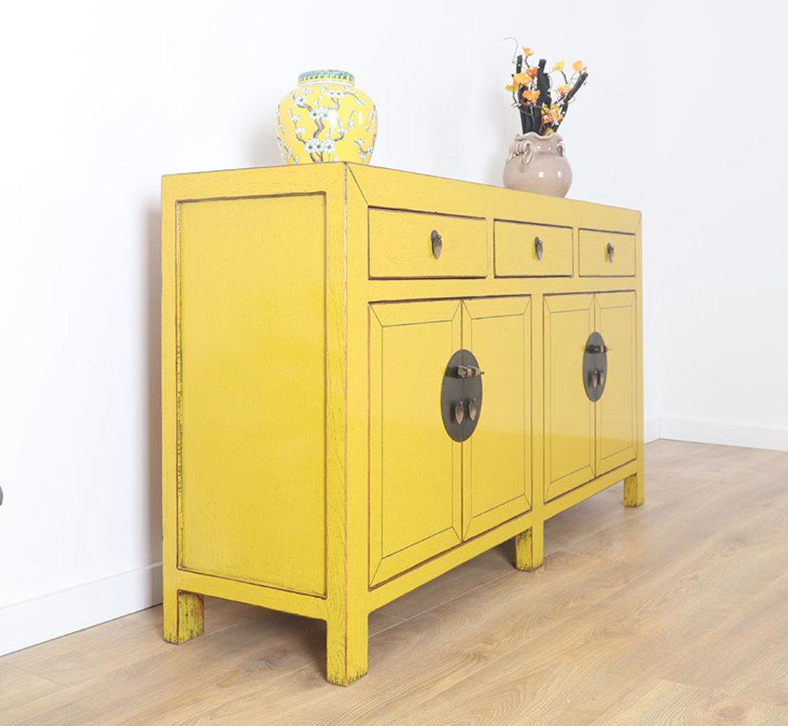 chinesische Kommode Sideboard 4 Türen 3 Schubladen gelb