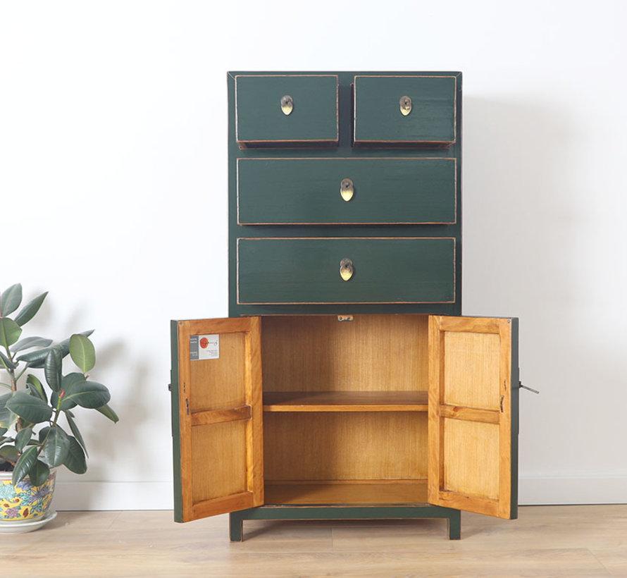 Chinese dresser sideboard 4 Schubladen 2 doors fir green