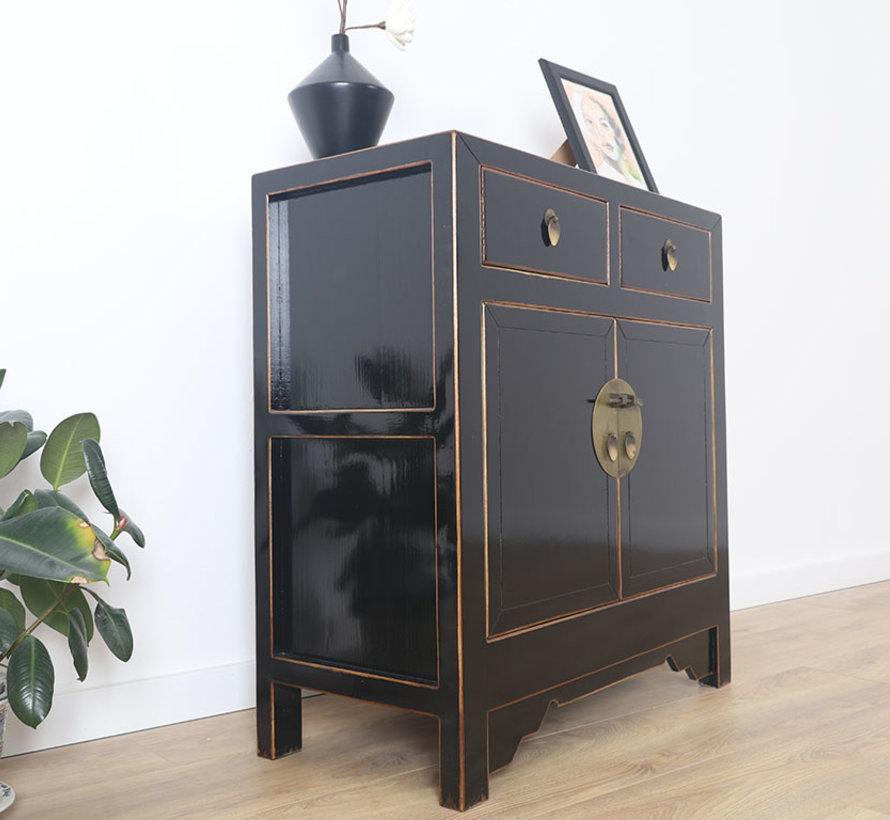 chinesische Kommode Sideboard 4 Schubladen 2 Türen schwarz