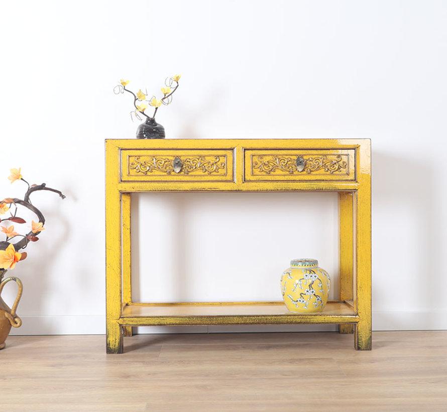 Konsole Konsolentisch mit 2 Schubladen aus massivem Holz gelb
