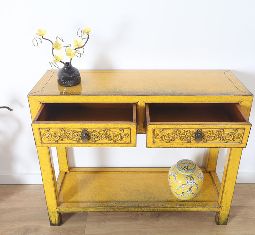 Console console table with 2 drawers in solid yellow