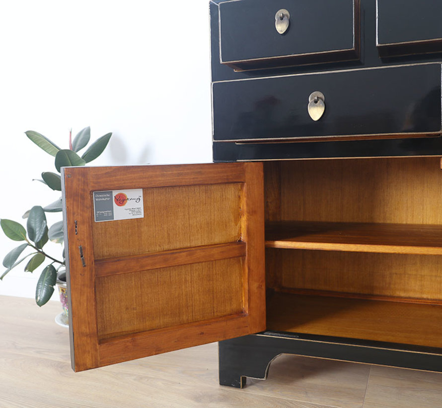 Chinese chest  sideboard 2 doors 2 drawers black
