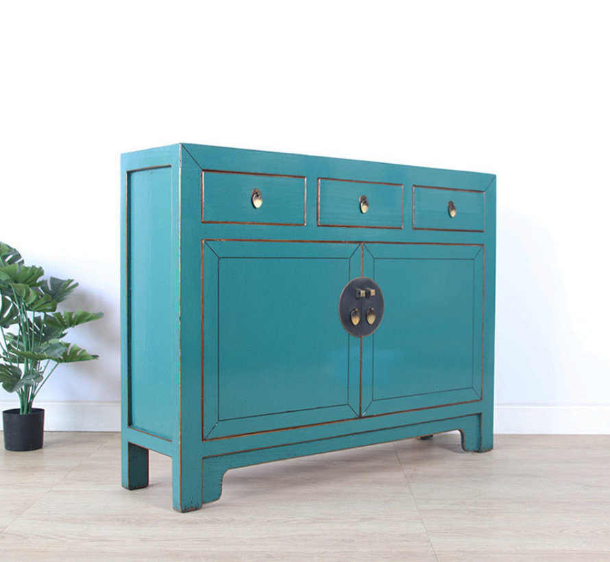 Chinese dresser sideboard 3 drawers 2 doors turquoise