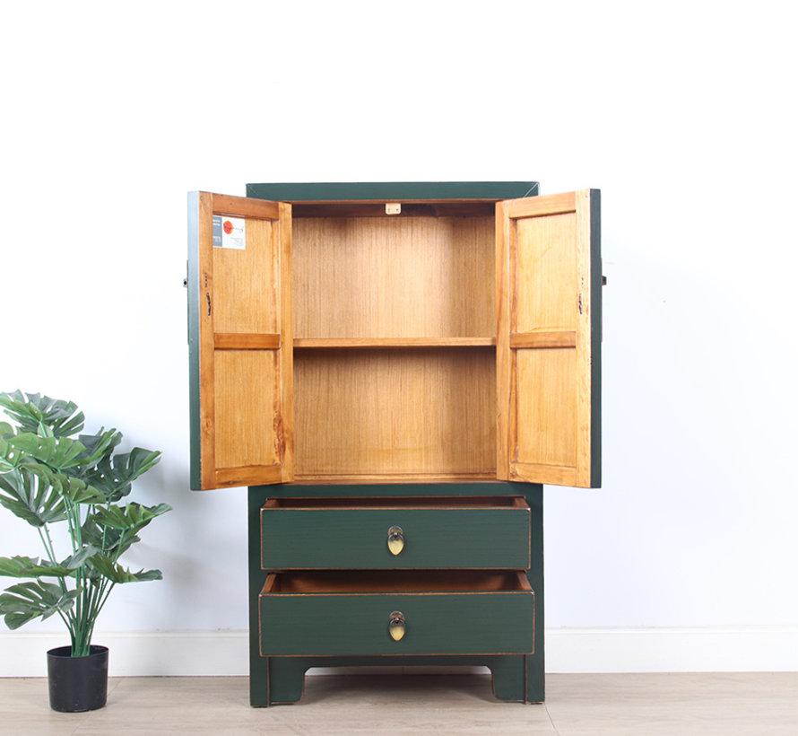 chinesische Kommode Sideboard 2 Schubladen 2 Türen tannengrün