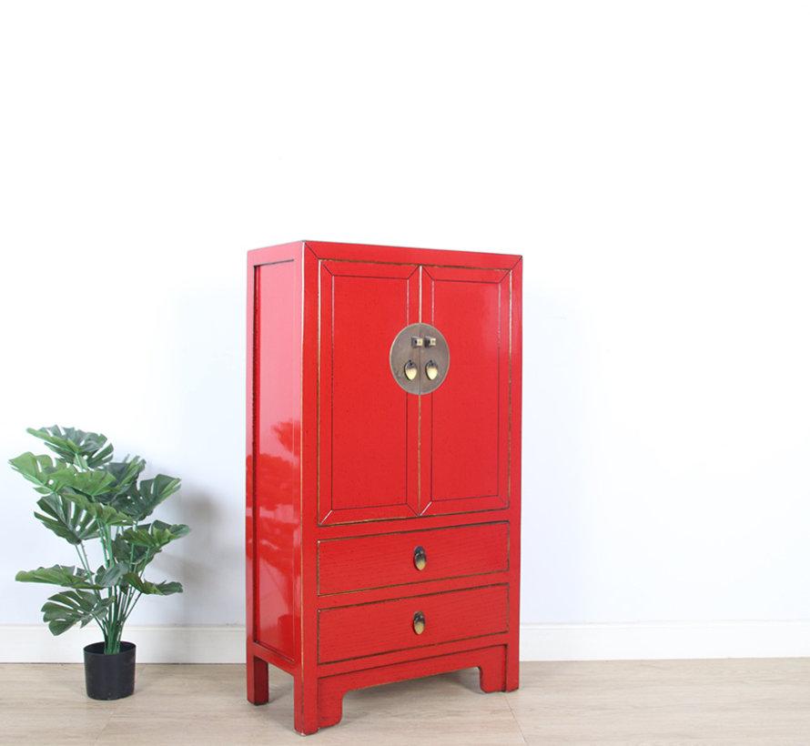 Chinese dresser sideboard 2 drawers 2 doors red