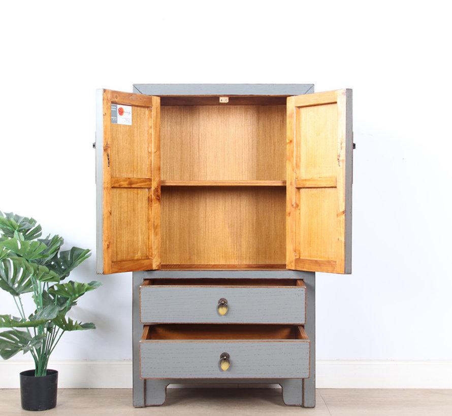 chinesische Kommode Sideboard 2 Schubladen 2 Türen grau