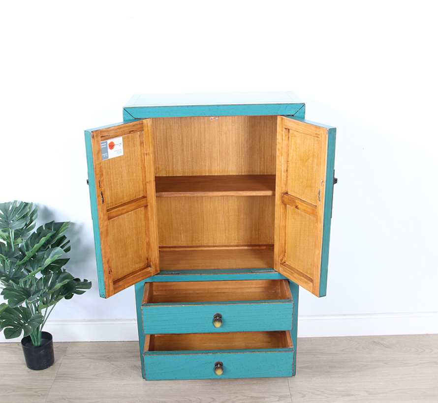 chinesische Kommode Sideboard 2 Schubladen 2 Türen  türkis