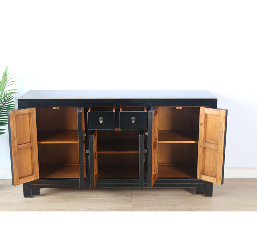 chinesische Kommode Sideboard 6 Türen 2 Schubladen schwarz
