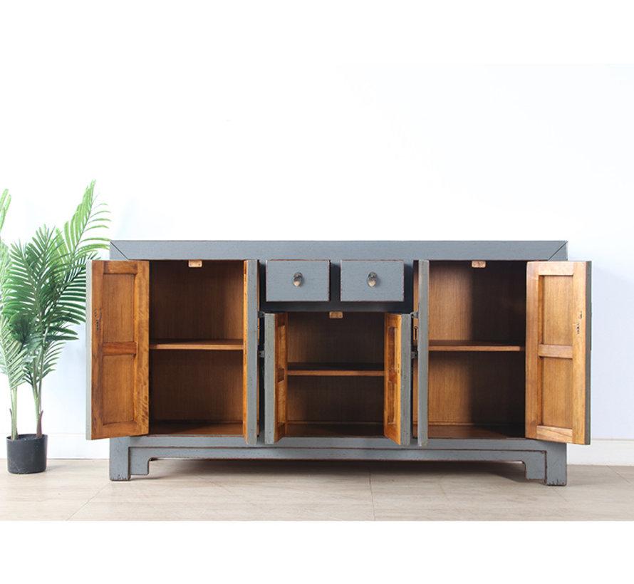 chinesische Kommode Sideboard 6 Türen 2 Schubladen grau