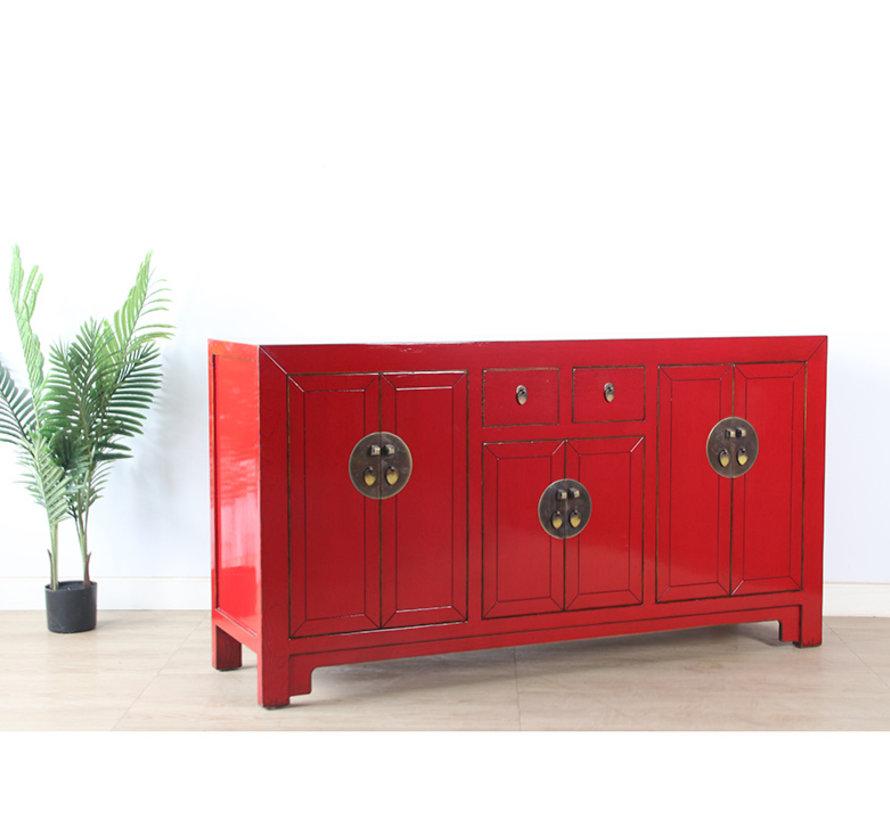 chinesische Kommode Sideboard 6 Türen 2 Schubladen rot