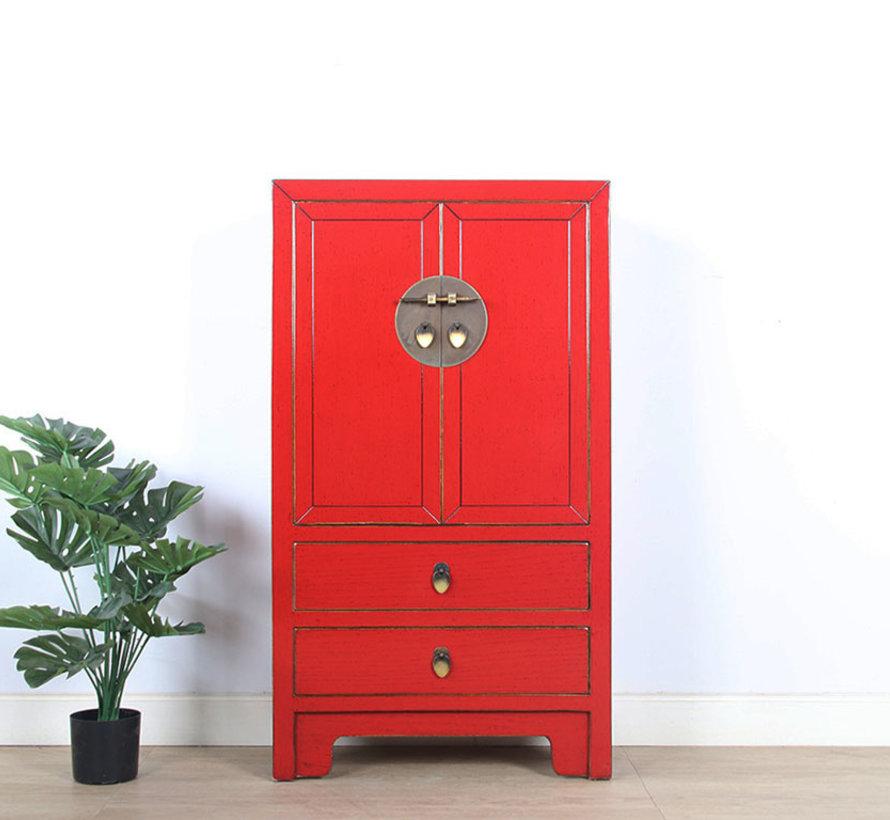 chinesische Kommode Sideboard 2 Schubladen 2 Türen rot