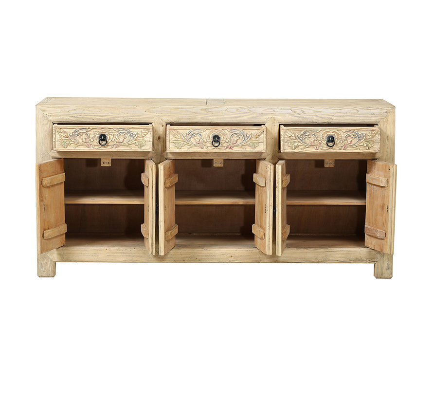 natur Sideboard aus China 6 Türen 3 Schubladen Naturholz