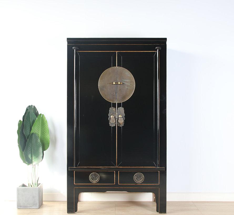 Chinese wedding cabinet solid wood 2 doors wardrobe black
