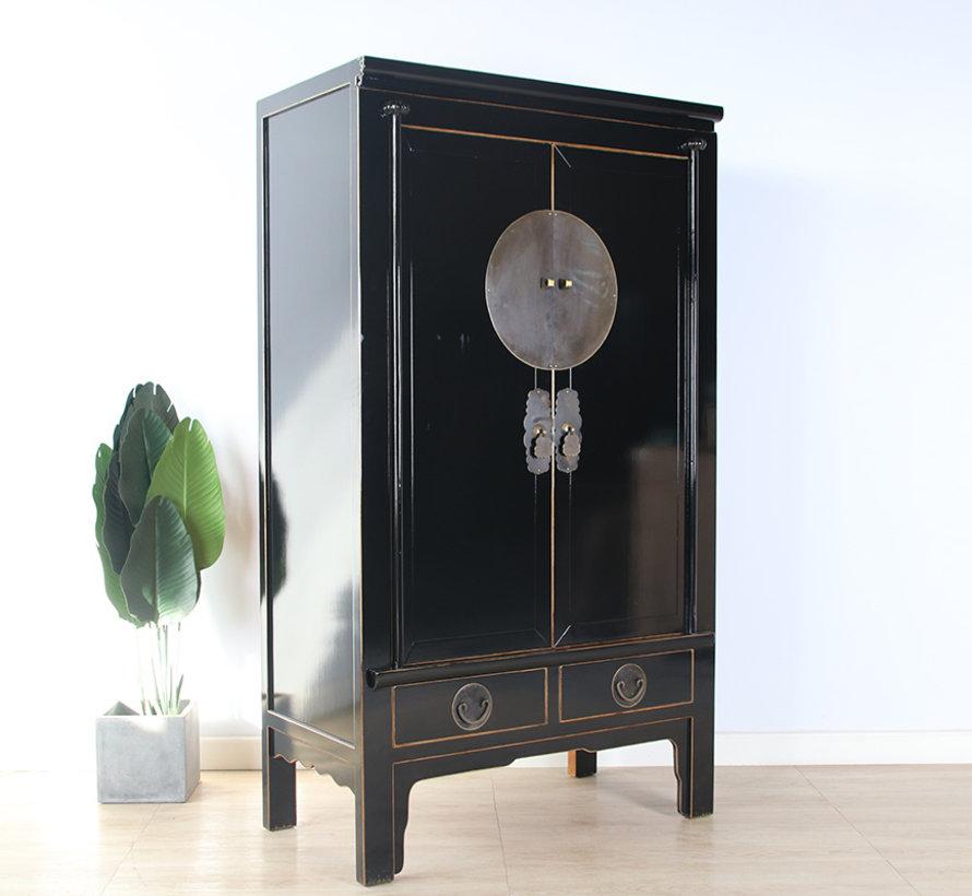 Chinesische Hochzeitschrank Massivholz 2 Türen Schrank schwarz