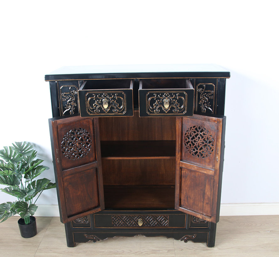 Chinese chest of drawers sideboard 2 doors 3 drawers black