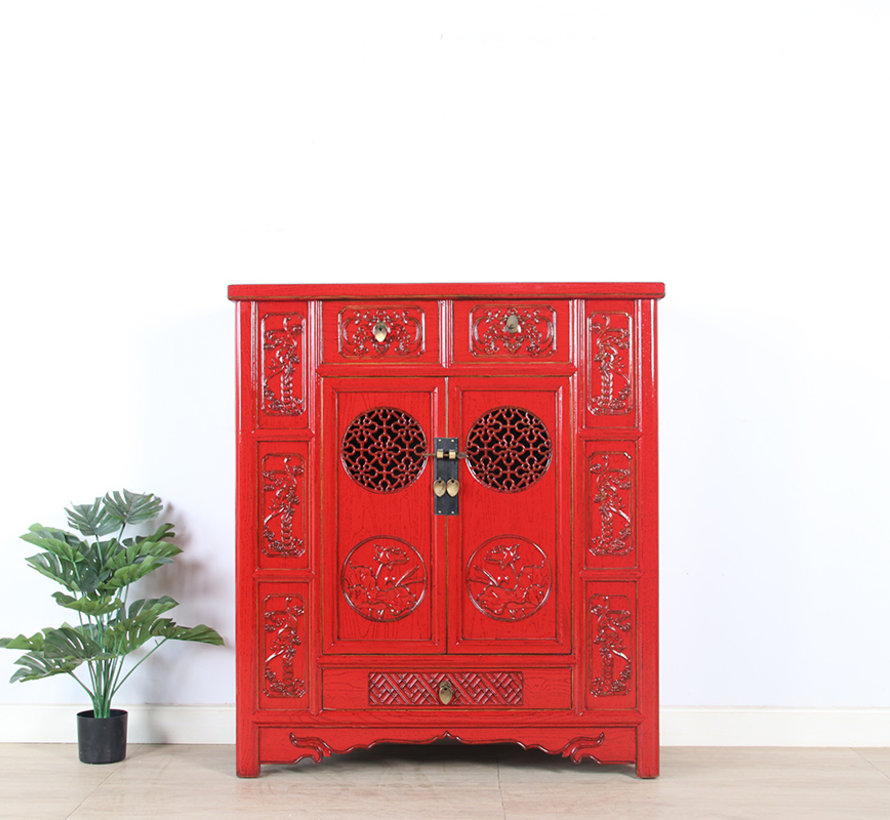 Chinese chest of drawers sideboard 2 doors 3 drawers red