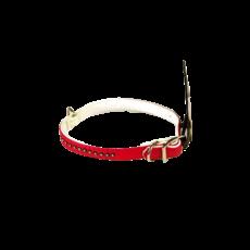 Halskette - Lederimitat-Rot / Weiß Diamond 1 cm
