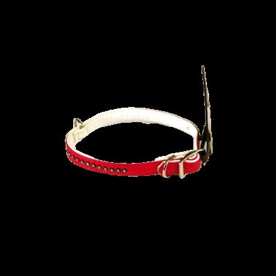 Necklace - Imitation Leather Red / White Diamond 1 cm