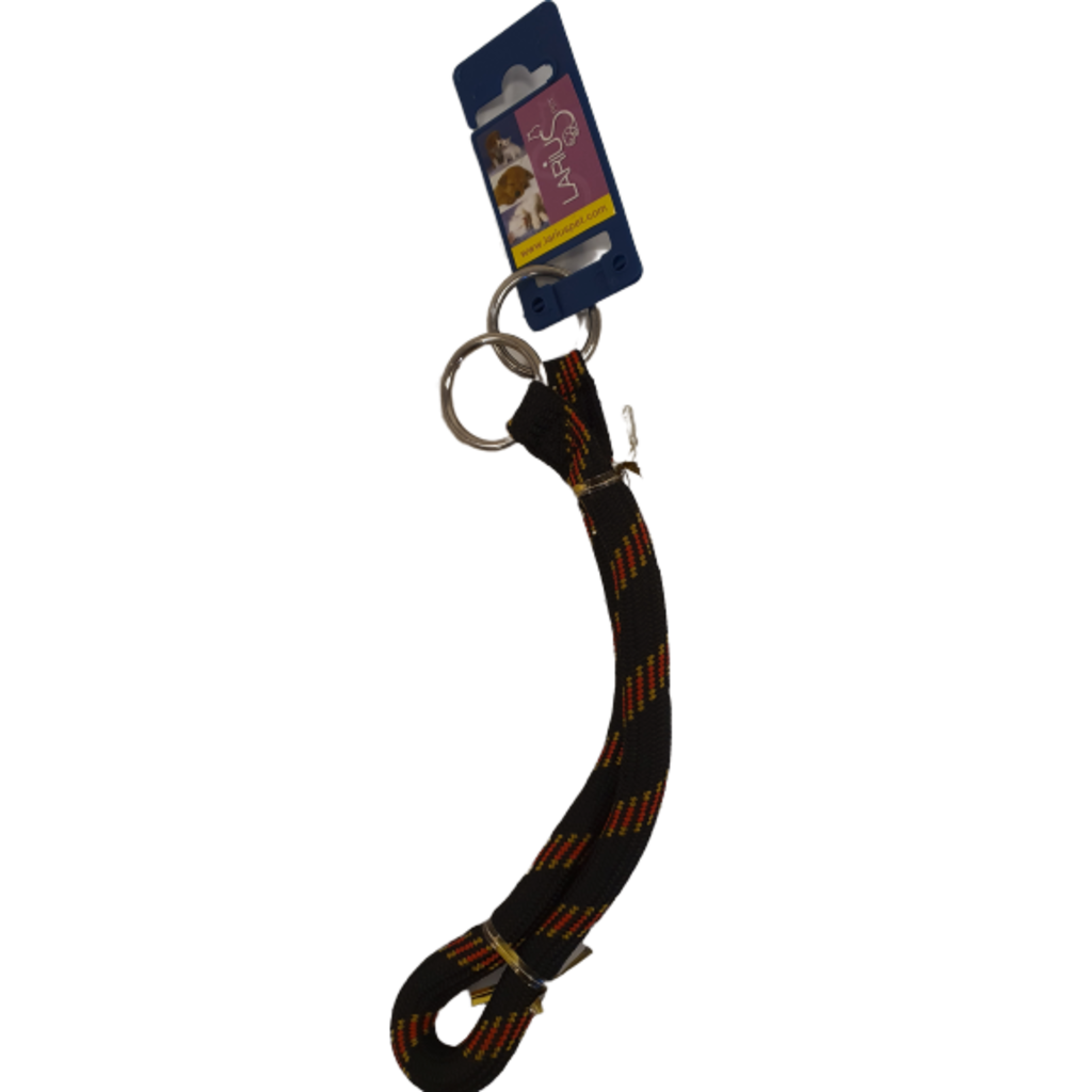 Halsband Nylon Rond- Zwart/Rood 1,3 x 55 cm