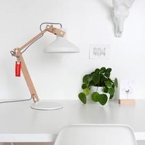 Tafellamp Woody verstelbaar wit / hout