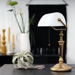 Bankierslamp Ancilla brons wit glas