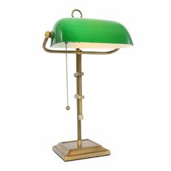Bankierslamp Ancilla brons groen glas