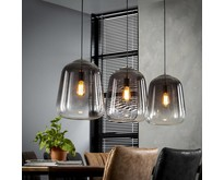 Moderne - Hanglamp - Oud zilver - 3 lichts - Smoaked