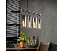 Moderne - Hanglamp - oud zilver- 4 lichts - Smoaked
